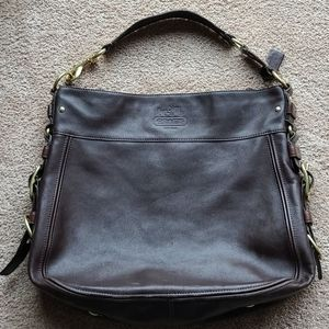 """Coach Large Shoulder Bag 18""""x16"""" Brown and Gold"""